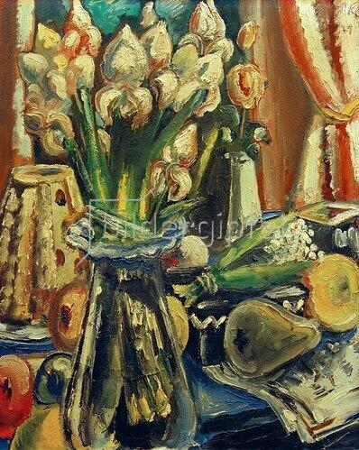 Paul Kleinschmidt: Stilleben mit Irisstrauß, 1949