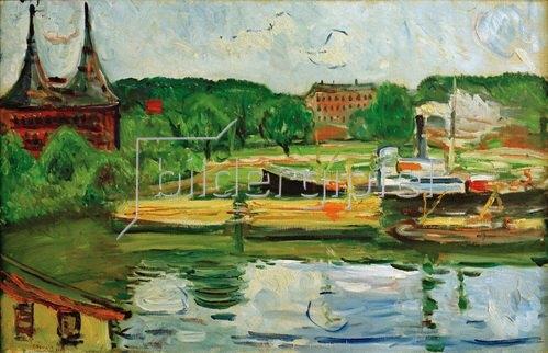 Edvard Munch: Lübecker Hafen mit Holstentor