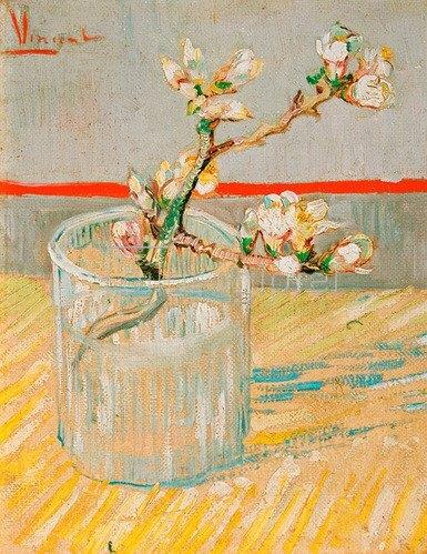 Vincent van Gogh: Blühender Mandelbaumzweig in einem Glas, Arles, 1888.