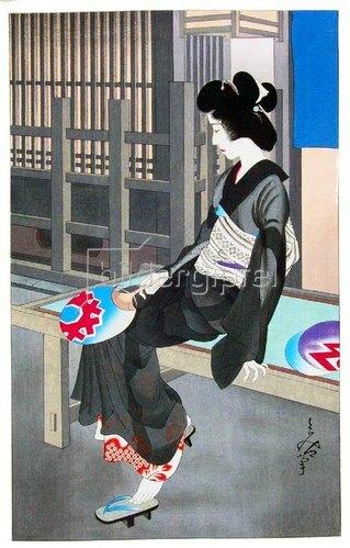 Oma Tomiya: Japan: 'Beauty Resting on a Summer Evening! woodblock print by Oda Tomiya, Osaka, c. 1926