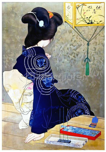 Kitano Tsunetomi: Frau mit Weihrauch, Japan
