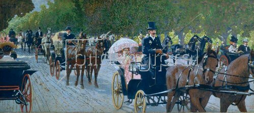 Maximilian Lenz: Travelling in the Prater, 1900.
