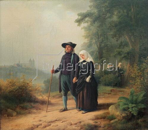 Jakob Becker: Der Kirchgang, 1847