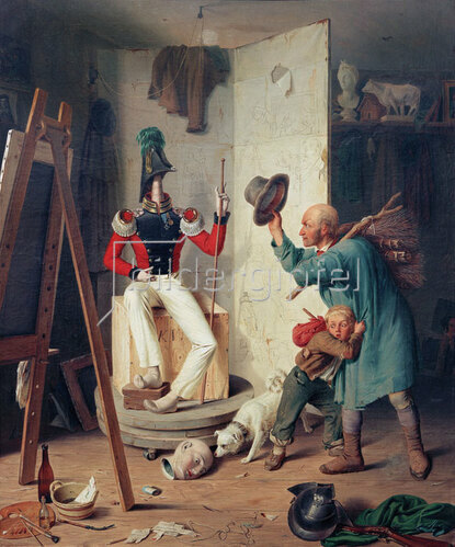 Heinrich Franz Gaudenz von Rustige: Der Bauer im Maleratelier, 1839