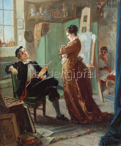 Moritz Daniel Oppenheim: Ein Maler im Atelier mit Ehefrau und Modell, 1874