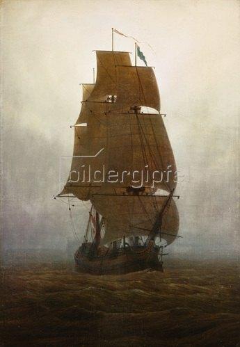 Caspar David Friedrich: Caspar David Friedrich, Segelschiff im Nebel/1815Oel auf Leinwand, 71 x 49,5 cm.Chemnitz, Staedtische Kunstsammlungen.
