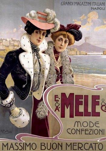 Werbeplakat für Damenmoden des Warenhauses Mele, Neapel.