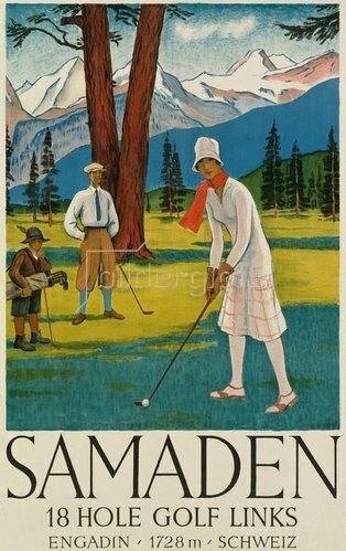Golfspielerin / Plakat Samaden um 1930