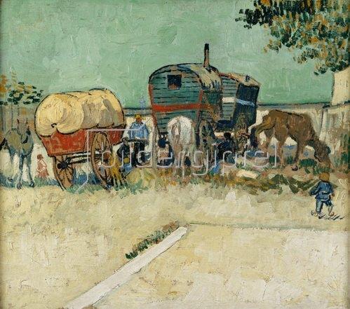 Vincent van Gogh: Die Wohnwagen, Zigeunerlager (Les Roulottes/Campement de Bohémiens). 1888.