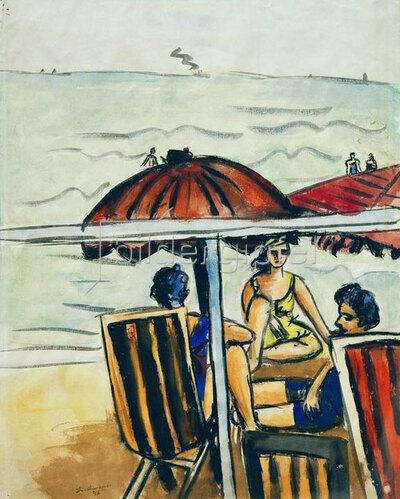 Max Beckmann: Strandszene mit Sonnenschirmen