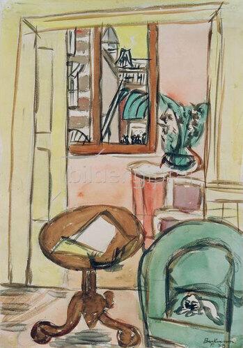 Max Beckmann: Interieur mit rundem Tisch