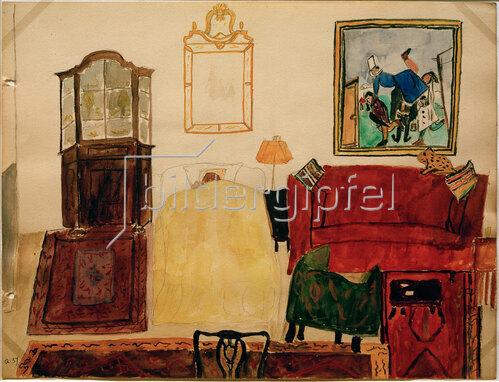 Max Beckmann: Mathilde Beckmann schlafend im Wohnzimmer