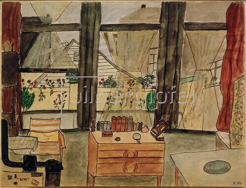 Max Beckmann: Max Beckmanns Schlafzimmer bei geöffnetem Vorhang