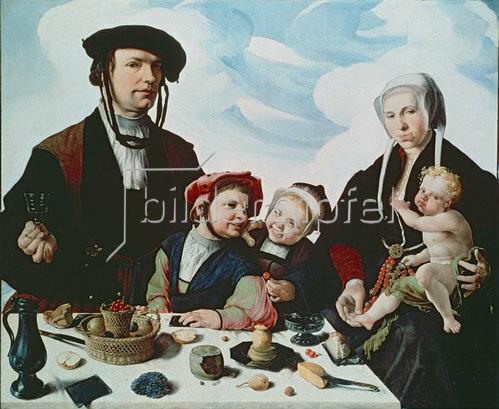 Maarten van Heemskerck: Heemskerck, Maarten van 1498?1574.?Familienbild?, vor 1532.(Der Haarlemer Patrizier Pieter Jan Foppeszoon und seine Familie).Öl auf Eichenholz, 119 × 140,5 cm.Kassel, Staatliche Kunstsammlungen.