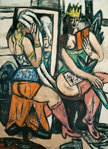 Max Beckmann: Zwei Schauspielerinnen bei der Garderobe, 1946