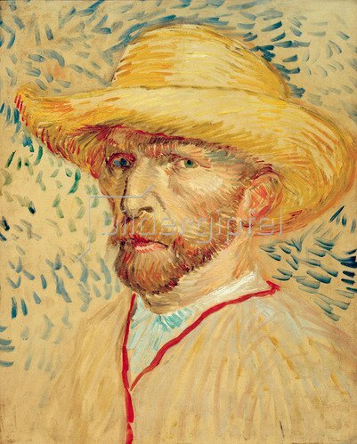Vincent van Gogh: Self portrait with straw hat and artists smock, 1887.