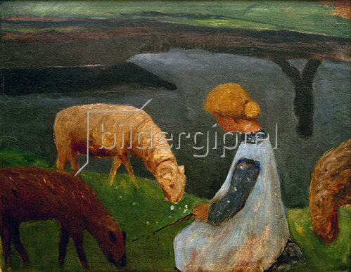 Paula Modersohn-Becker: Sitzendes Mädchen mit Schafen am Weiher, 1905