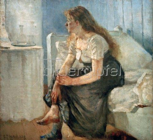 Edvard Munch: Morgen (Mädchen auf dem Bett sitzend)