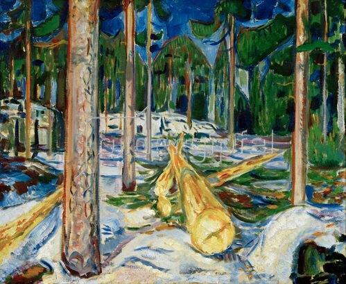 Edvard Munch: Der gelbe Baumstamm (Gefällte Baumstämme / Im Walde)