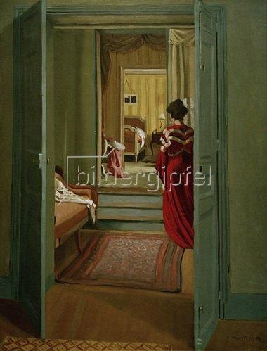 Interieur mit Frau in Rot von Felix Vallotton Kunstdruck ...