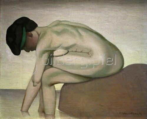 Felix Vallotton: Sitzenden Badende im Profil auf einem Felsen, 1919