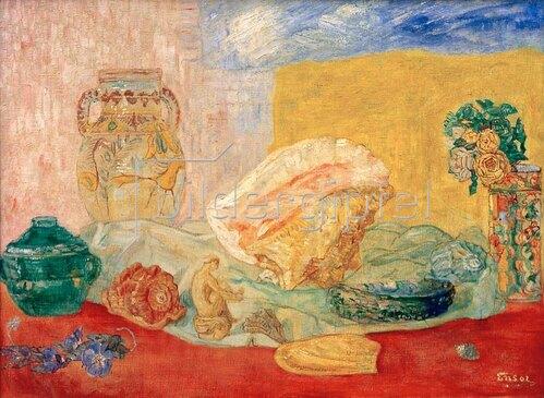 James Ensor: Muscheln, Rosen und Vasen, 1917/18