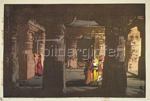 Yoshida Hiroshi: Ellora, Cave Temple, 1933