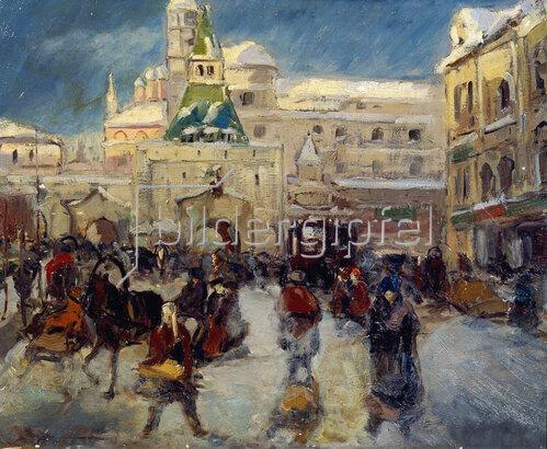 Georgi Alexandrowitsch Lapschin: Der Iljinskaja-Platz mit dem Iljinski-Tor in Moskau, um 1910 / 1920