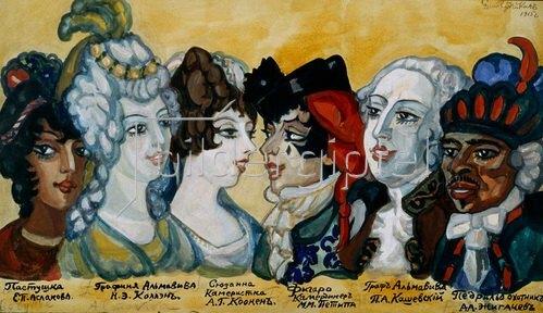 """Sergei Jurjewitsch Sudeikin: Masken-Entwürfe zu """"e mariage de Figaro ou La folle journée"""""""