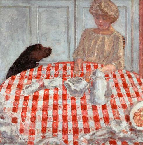 Pierre Bonnard: Die rotkarierte Tischdecke oder die Hunde-Mahlzeit