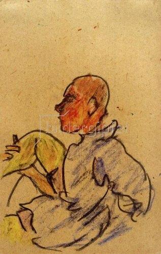 László Moholy-Nagy: Ohne Titel (Sitzender mit angewinkeltem rechten Bein), 1917