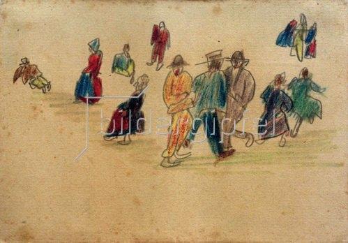 László Moholy-Nagy: Ohne Titel (Galizische Bürger und Bauern), 1917