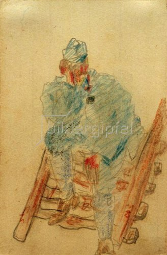 László Moholy-Nagy: Ohne Titel (Auf Holzleiter sitzender Soldat), 1917