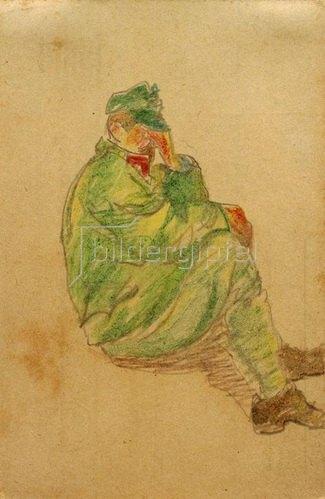 László Moholy-Nagy: Ohne Titel (Sitzender, nachdenkender Soldat), 1917