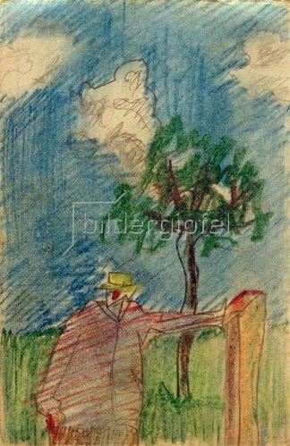 László Moholy-Nagy: Ohne Titel (Unterm Baum stehender Mann), 1918/19