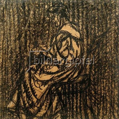 László Moholy-Nagy: Ohne Titel (Sitzende Frau, von links, bei der Handarbeit), 1919