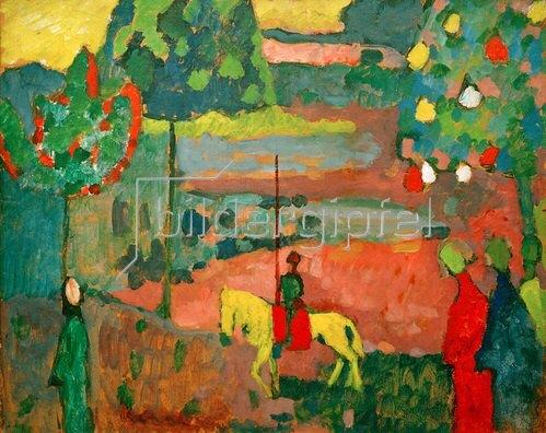 Wassily Kandinsky: Lanzenreiter in Landschaft