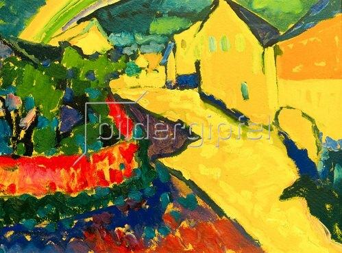 Wassily Kandinsky: Kandinsky, Wassily1866?1944.?Murnau ? Landschaft mit Regenbogen?,Sommer 1909.Öl auf Pappe, 32,9 × 42,8 cm.