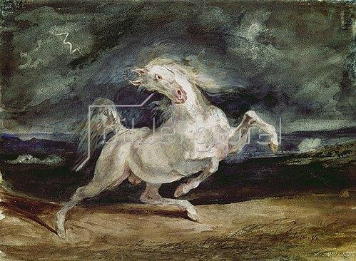 Eugene Delacroix: Vor dem Blitz scheuendes Pferd. 1824