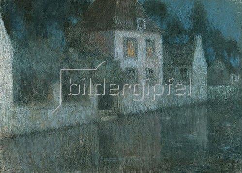 Henri Le Sidaner: Abendliche Häuser am Kanal (Nemours).