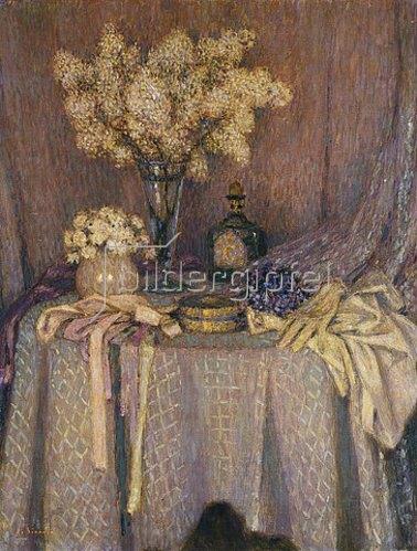 Henri Le Sidaner: Der Tisch, malvenfarbige Harmonie.