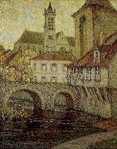 Henri Le Sidaner: Moret. Brücke, Kirche und Porte de Bourgogne.