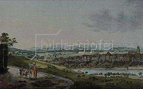 Anonym: Blick von Norden auf Bern und die Schweizer Alpen.