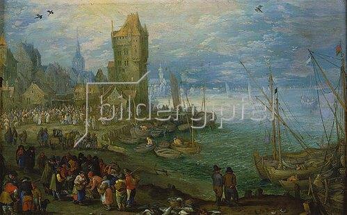 Jan Brueghel d.Ä.: Fischmarkt am Meeresstrand.