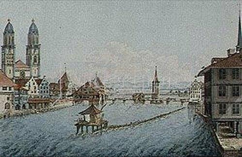 Balthasar Anton Dunker: Zürich, Limmat und Fraumünster.
