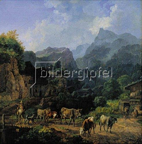 Heinrich Bürkel: Morgen in einem Tiroler Dorf. 1834.