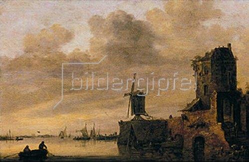 Jan van Goyen: Flusslandschaft mit Windmühle auf einer Rundbastion. 1644.