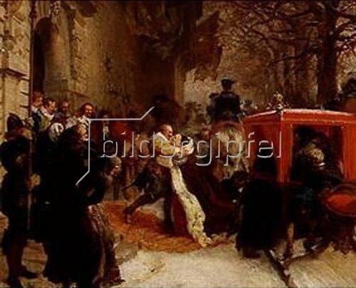 Adolph von Menzel: Gustav Adolf empfängt seine Gemahlin vor dem Schloss zu Hanau im Januar 1632. 1847