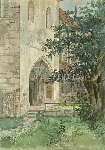 Ernst Ferdinand Oehme: Eingang in eine gotische Kirche. 1824.