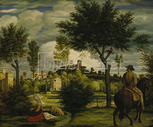 Friedrich Olivier: Ideale Landschaft mit Reiter. Um 1822.